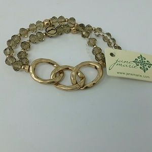 NWT Gold link with champagne crystal and gold bead
